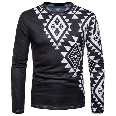 Men's Fashion Personality 3D Printed Casual Slim Round Neck Long-sleeved T-shirt