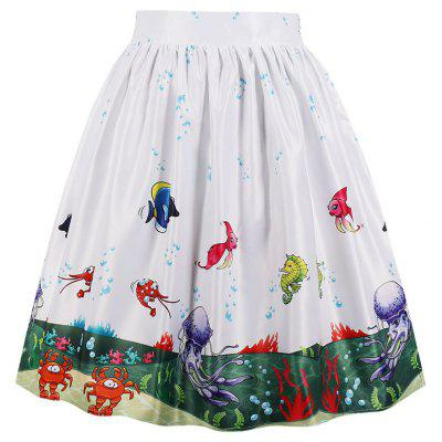 Plus Size Printing Pocket A-Line Skirt