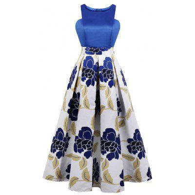 Round Collar Printing Joining Together Light Dress