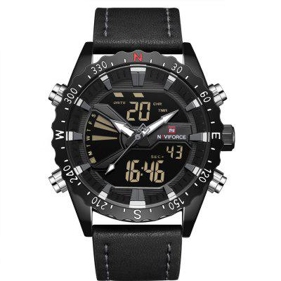Homens Naviforce Impermeável Moda LED Digital Quartz Sport Watch
