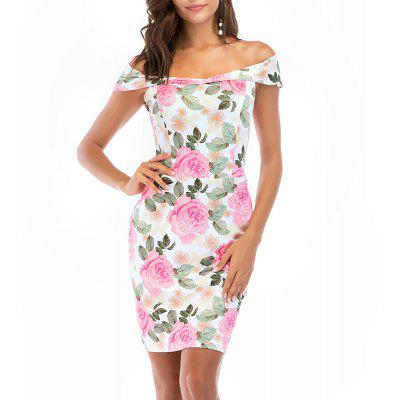 Women's Slash Neck Off Shoulder Short Sleeve Flowers Print Sheath Midi Dress