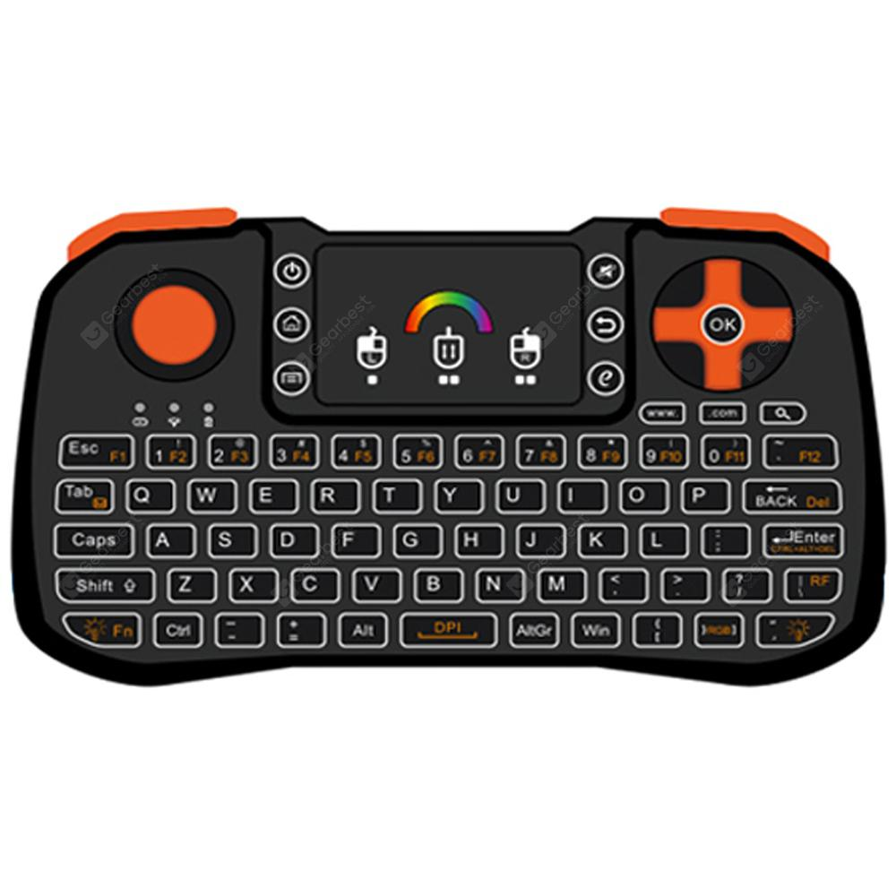 LED Seven-Color Backlight 2.4g T10A Air Mouse Keyboard Game Controllers - BLACK