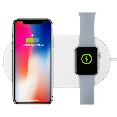 Wireless Charger Dual Charging Pad Fast Charge for Apple Watch 3 / 2 iPhone X / 8