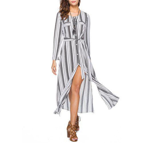 825fe429899 Women s Round Neck Long Sleeve Stripes Print Buttons Chiffon Maxi Shirt  Dress