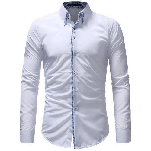 ce8987aa9c9 Double-Necked Men s Casual Slim Long-Sleeved Shirt