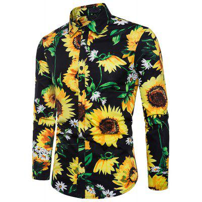Printed Men's Lapel Long Sleeve Shirt