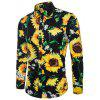 Printed Men's Lapel Long Sleeve Shirt - MULTI-F