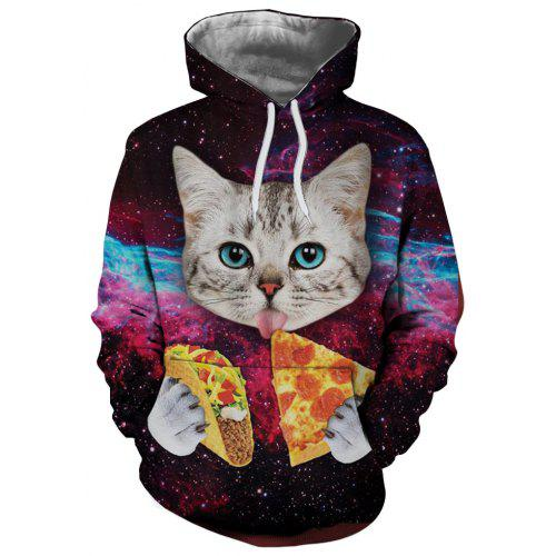 1dfa88fdf261 3D Creative Pizza Starry Cat Pattern Printing Men s Hoodie