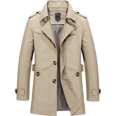 Men's Autumn Single Breasted Lapel Cotton Medium and Long Jackets