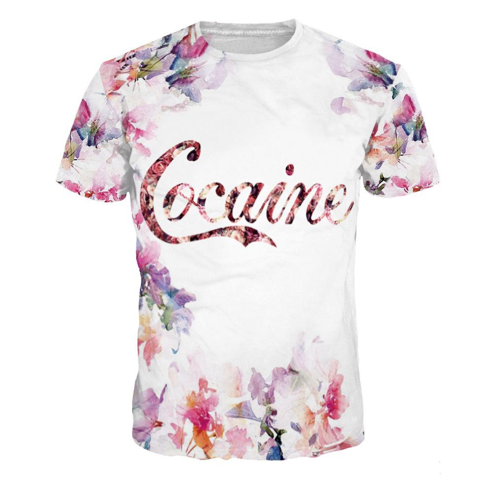 Flowers Pattern Digital Printing Short Sleeve T-shirt