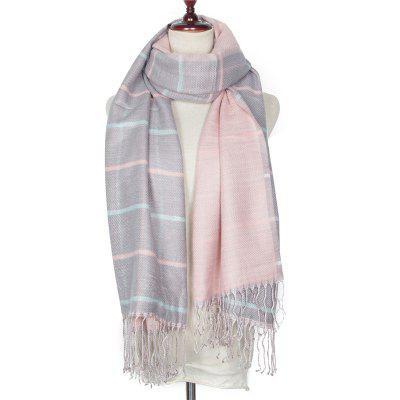 Autumn and Winter Grid Tassel Imitation of Cashmere Warm Scarf
