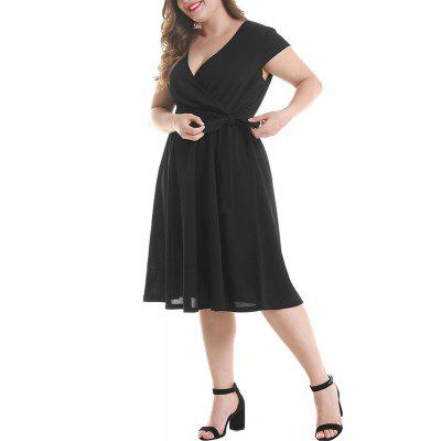 V Colloar Short Sleeve Pleated Tight Waist Dress