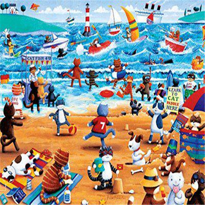 3D Jigsaw Paper Puzzle Block Beach Cat Assembly Birthday Toy for Children