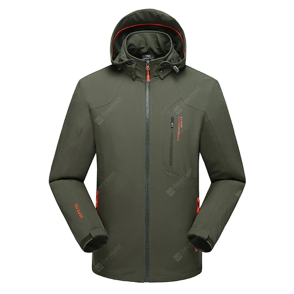 Men's Solid Soft Shell Thermal Hooded Jacket