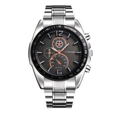 OUKESHI New Fashion Casual Men Simple Business Steel Band Sport Quartz Watch