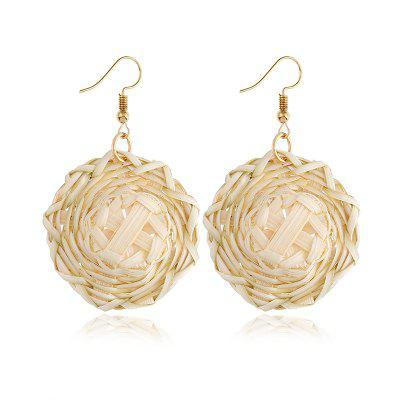 Best Lady Handmade Drop Earrings For Women Wooden Straw Weave Rattan