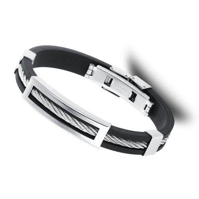 Steel Wire Hollowed Stainless Steel Silicone Bracelet