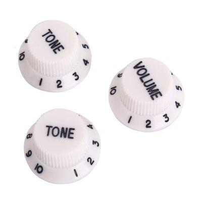 Plastic 1 Volume 2 Tone Knobs for Electric Guitar White