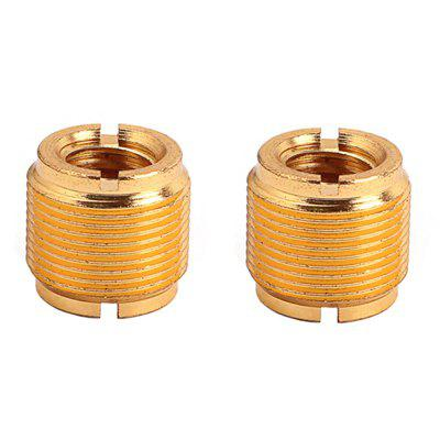 Mic Microphone Stand Clip Thread Screw Adaptor Gold 2PCS