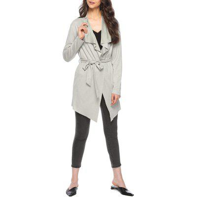 Frosted Glass Wool Lapel Long Sleeve Coat