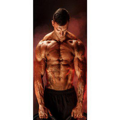 MailingArt 3D HD Canvas Print Door Sticker Mural Home Decoration Fitness Man
