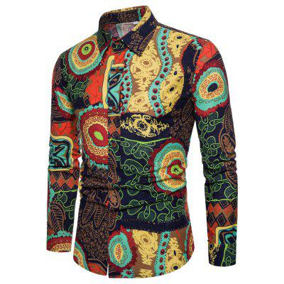 New Men Casual Long Sleeve Flower Shirt