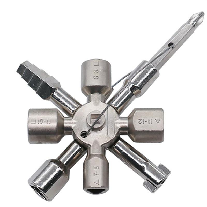 Multifunctional 10 In 1 Universal Cross Plumber Keys Triangle for Gas Tools - PLATINUM
