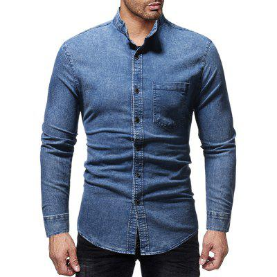 Casual Slim Stand Collar Long Sleeve Washed Men's Denim Shirt