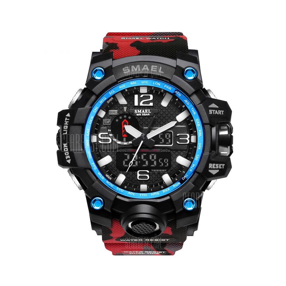 SMAEL Camouflage 1545B Watch Men New Style Digital Waterproof Sports Military - RED