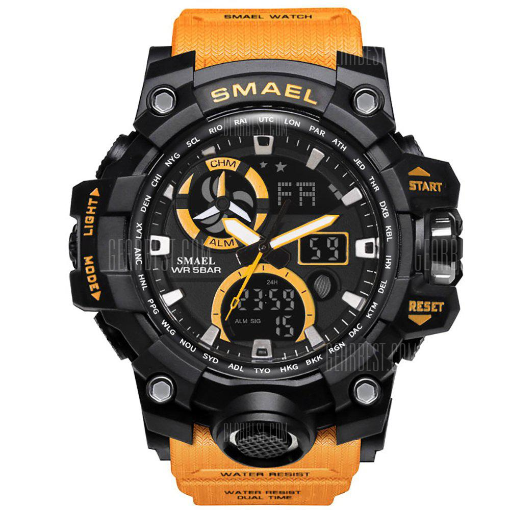 SMAEL Digital Backlight Alarm Watch Men Military LED Wristwatches - ORANGE