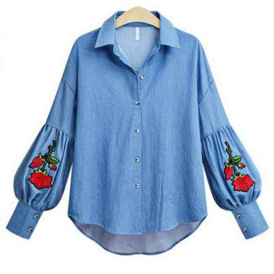 2018 Summer New Bordado Denim Shirt