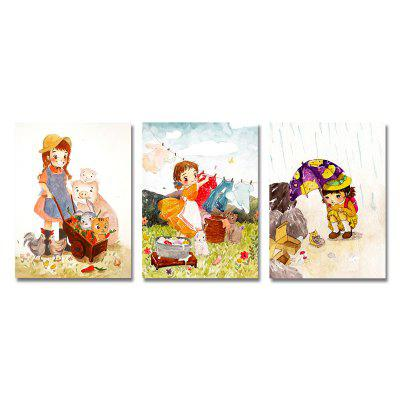 3PCS Cute Cartoon Girl Print Art