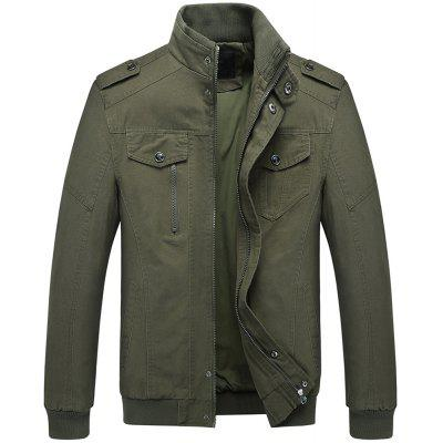 Men's Epaulette Design Stand Collar Casual Army Military Jacket