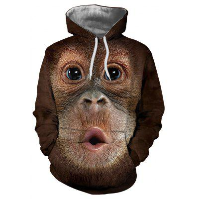 Fashion 3D Monkey Thermal Transfer Digital Print Men's Hoodie Sweater