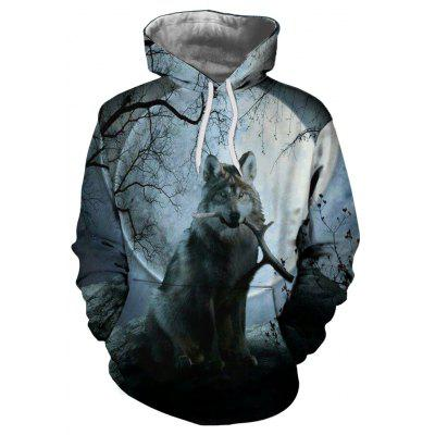Autumn and Winter 3D Wolf Digital Print Thermal Transfer Men's Hoodie Sweater