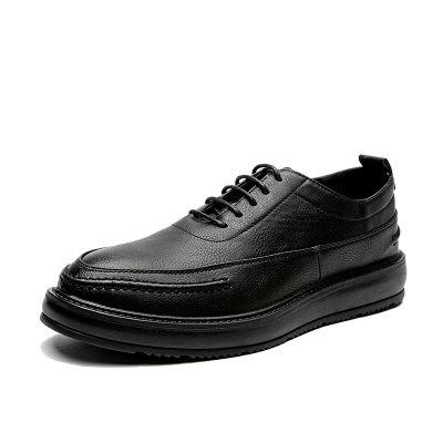 MUHUISEN Men Leather Casual  Fashion New Lace-up Breathable Men Shoes