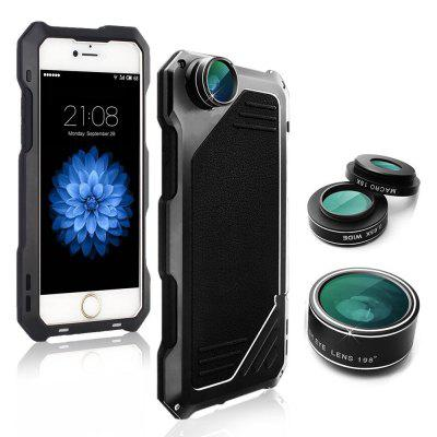 Waterproof Shockproof Metal Case Back Cover with 3 Camera Lens for iPhone 7 / 8