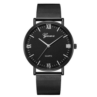 GENEVA Fashion Vintage Large Dial Creative Stainless Steel Cool Quartz Watch
