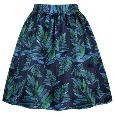 Leaves of Printing Pocket Skirt