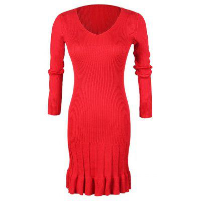 Women's V-Neck Long-Sleeved Pleated Bottoming High-Elastic Knit Dress