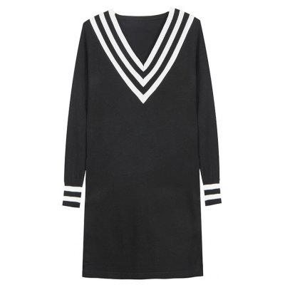 Women's Autumn Long Sleeve Mid-Length Base Skirt Sexy V-Neck Knit Dress