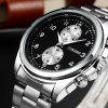 OUKESHI New Fashion Leisure Two Oil Code Steel Band Business Men Quartz Watch - BLACK