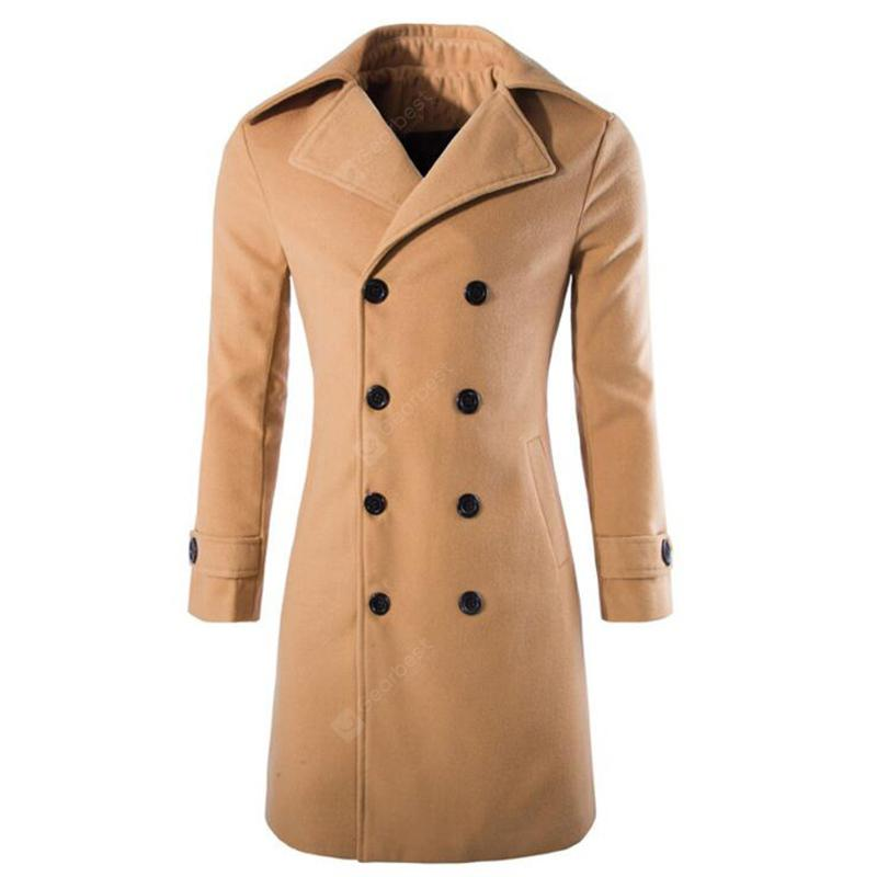 Men's Stylish Fashion Classic Woolen Double Breasted Pea Coat