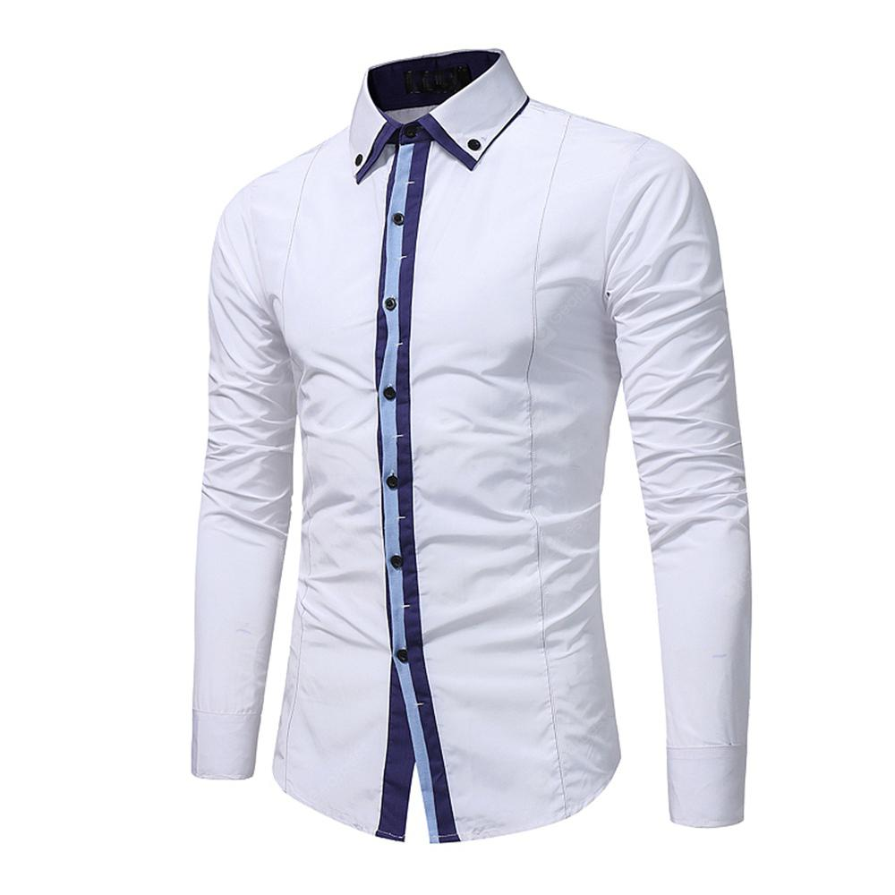 e6cdb338623 Men s Fashion Color Matching Casual Long-Sleeved Shirt Business ...