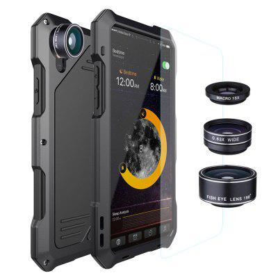 Water-resistant Metal Case Back Cover with 3 Camera Lens for iPhone X / XS