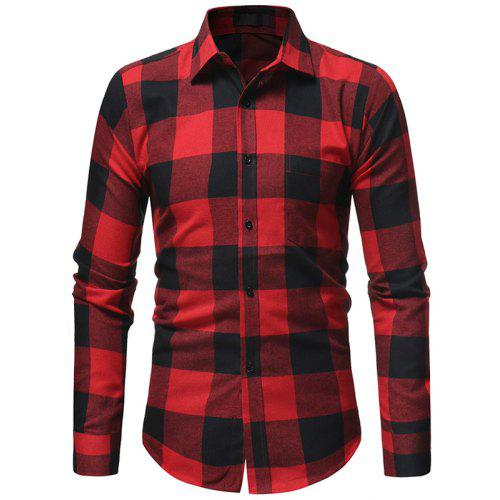054f2e03009 Men s Fashion Square Collar Slim Plaid Casual Long-Sleeved Shirt ...