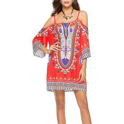 Women's Fashion Print Strap Half Sleeve Casual Mini Boho Dress