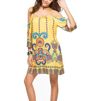 Women's Fashion Print Half Sleeve Spaghetti Strap Beach Casual Mini Dress