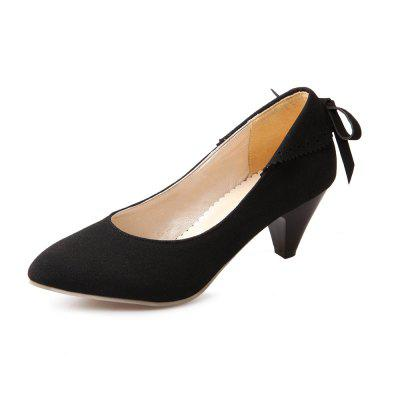 Bow Shaped Suede Tipped Glass with Simple Women'S Shoes