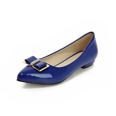 Bow Pointed Shallow Plain Simple Comfortable Flat Heel Shoes